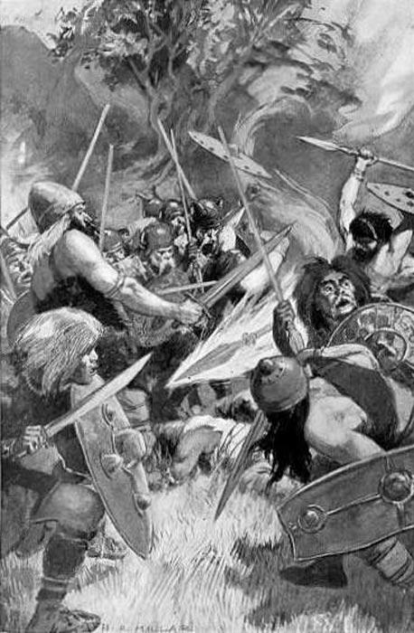 La lanza mágica de Lug en acción tras ser arrojada por el dios, ilustración de H. R. Millar (1905). (Public Domain)