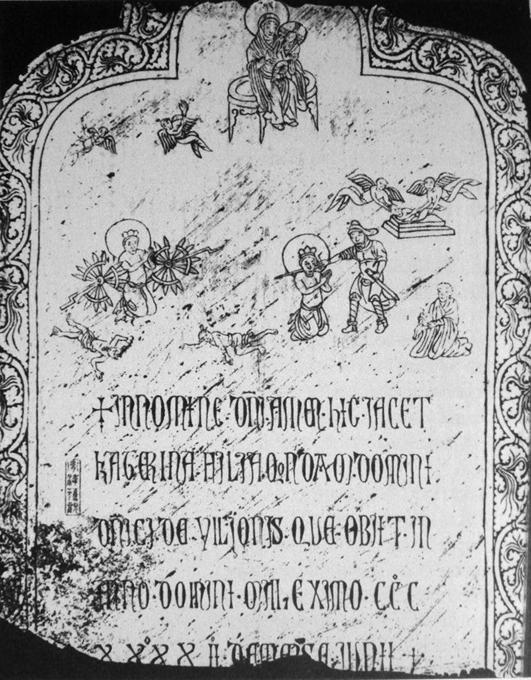 La lápida de Katerina Ilioni, hija del comerciante genovés Domenico Ilioni, datada en el año 1342 y descubierta en Yangzhou, China. (Dominio público)