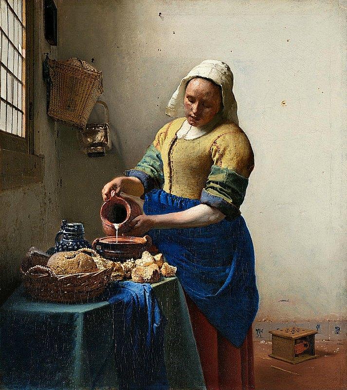"""4.000 años llevan los adultos europeos consumiendo leche de forma regular. """"La Lechera"""" (1657–1658), óleo del artista holandés Johannes Vermeer. Rijksmuseum de Amsterdam, Holanda. (Public Domain)"""