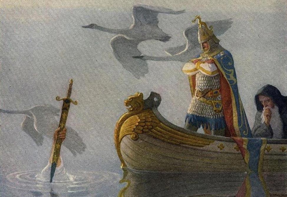 """El legendario rey Arturo: """"Y cuando llegaron a la espada que empuñaba aquella mano, el rey Arturo se apoderó de ella."""" (Public Domain)"""