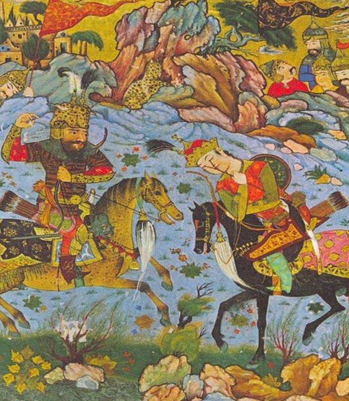 Naqsh-e Rustam fue llamado así por la legendaria figura de Rustam, quien aparece representado aquí matando a Esfandyar. Miniatura medieval persa. (en.wikipedia.org)