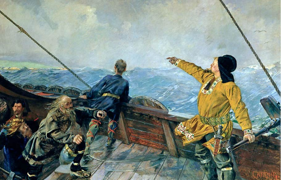 Es bien sabido que los vikingos eran excelentes navegantes: 'Leiv Eriksson descubre América', óleo de Christian Krohg, 1893 (Public Domain)