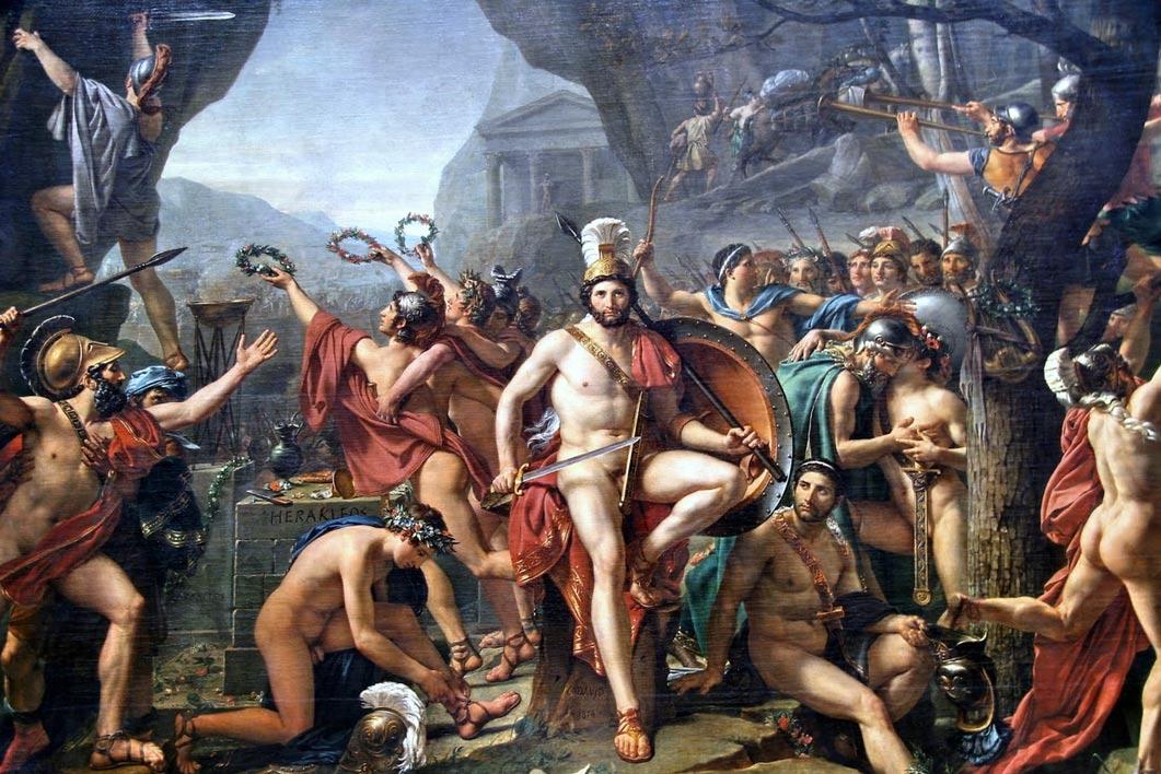 """""""Leonidas en las Termópilas"""" obra de Jacques Louis David. Los 300 Espartanos lucharon junto a sus guerreros esclavos Ilotas hasta la muerte. Persia ganó esta batalla, pero perdió la guerra. (Wikipedia)"""