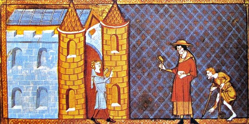 Ilustración medieval del siglo XIV en la que se impide a dos leprosos entrar en una ciudad. Miniatura de un manuscrito de Vincent de Beauvais. (Public Domain)