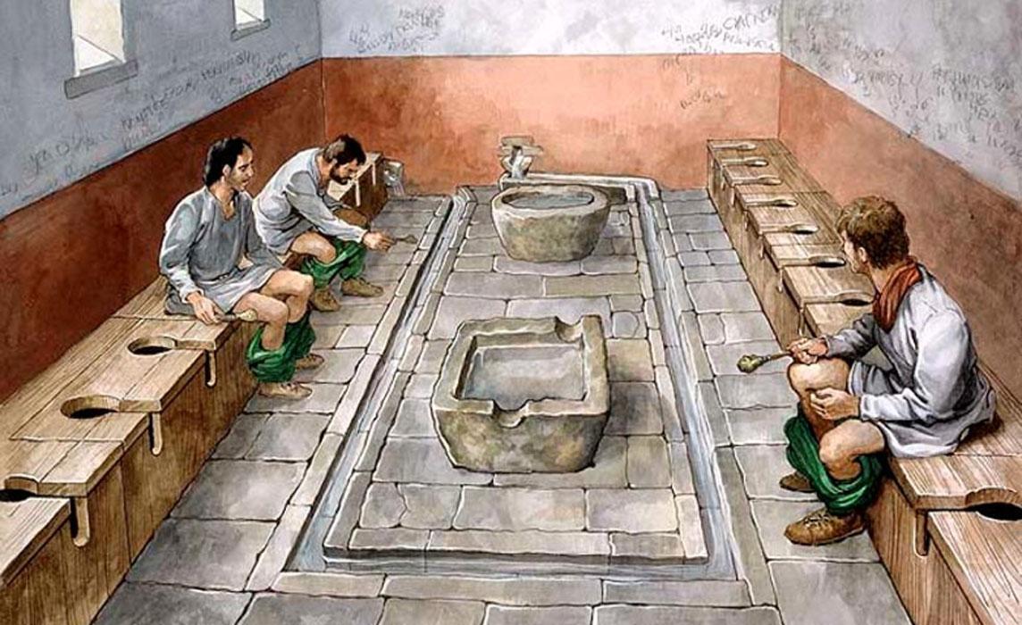 Ilustración en la que se reconstruye el probable aspecto de las letrinas comunales del Fuerte Romano de Housesteads (Vercovicium), ubicado en el muro de Adriano. Este yacimiento está actualmente bajo la custodia del organismo English Heritage (2010).