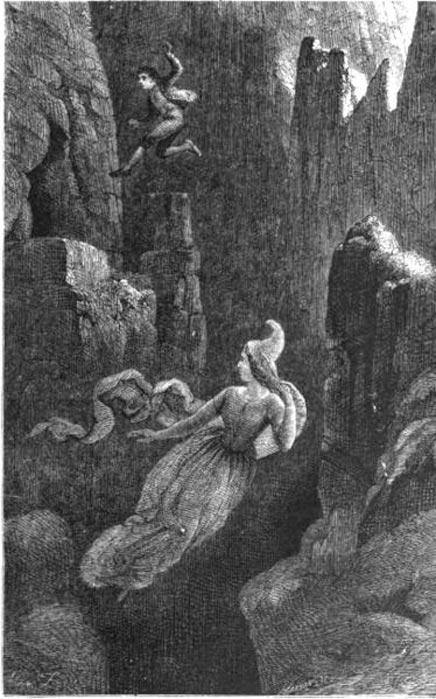 Grabado en el que se observa a un hombre saltando al vacío en un precipicio mientras persigue a una mujer de raza élfica. Ilustración de la leyenda islandesa de Hildur, reina de los Elfos. (Public Domain)