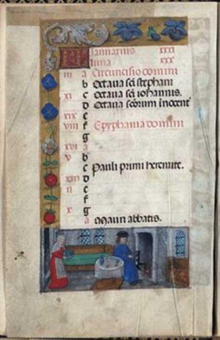 Libro de Horas, 12º día de las Navidades. Imagen aportada por la autora, cortesía de la Biblioteca Brotherton, Universidad de Leeds