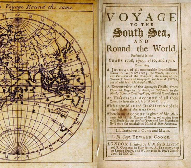 Cubierta del libro impreso en 1712: Viaje al mar del Sur, y alrededor del mundo, realizado en los años 1708, 1709, 1710 y 1711, por Edward Cooke en una travesía de dos naves, el Duque y la Duquesa de Bristol, comandadas por Woodes Rogers. (Dominio público)