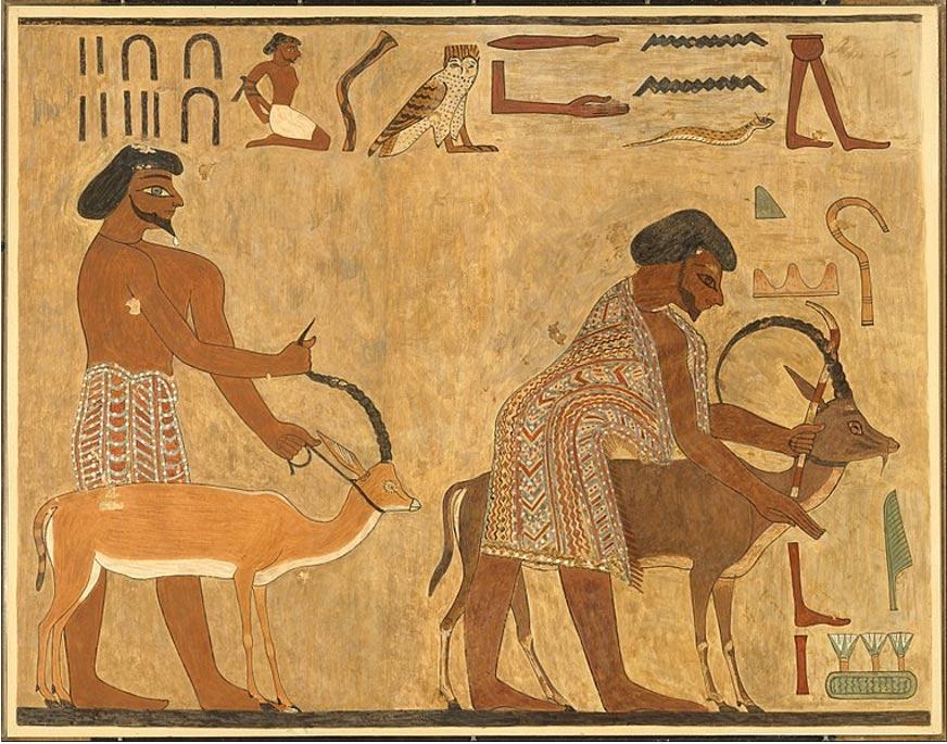 Líderes de los Aamu de Shu tal y como aparecen representados en los muros de la tumba de Khnumhotep II, gobernador del nomo del Oryx. (CC0)