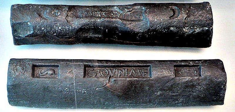 Lingotes de plomo procedentes de las minas romanas de Carthago Nova, Hispania. Museo Nacional de Arqueología Subacuática de Cartagena, España. (Public Domain)