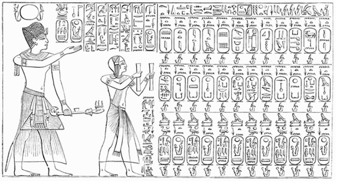 La Lista Real de Abidos es una lista con los nombres de setenta y seis reyes del antiguo Egipto, hallada sobre uno de los muros del templo de Seti I en Abidos, Egipto. Esta lista omite los nombres de muchos de los faraones más antiguos, como por ejemplo Khasekhemui. (Dominio público)