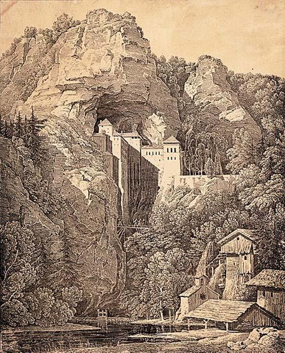 Litografía del castillo realizada en 1816 por Karl Friedrich Schinkel. (Dominio público)