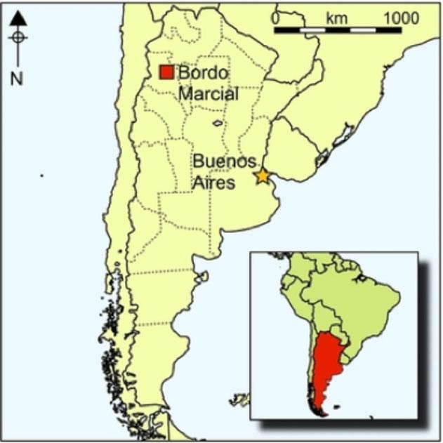 Situación geográfica del yacimiento de Bordo Marcial en la zona de la Quebrada de Humahuaca, noroeste de Argentina, Andes meridionales. (Fotografía: Leticia Inés Cortés/María Cristina Scattolin/Antiquity)