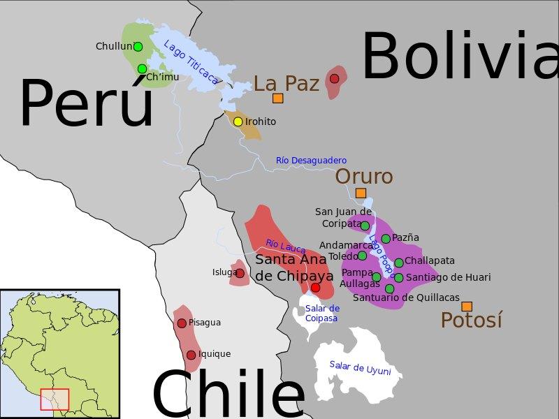 Mapa explicativo de la localización geográfica de las poblaciones Uru en la actualidad. (Public Domain)