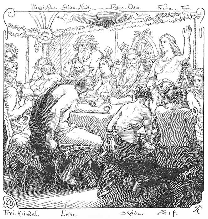 Freya y Loki discuten en un banquete. Ilustración de Lorenz Frølich (1895) (Public Domain)