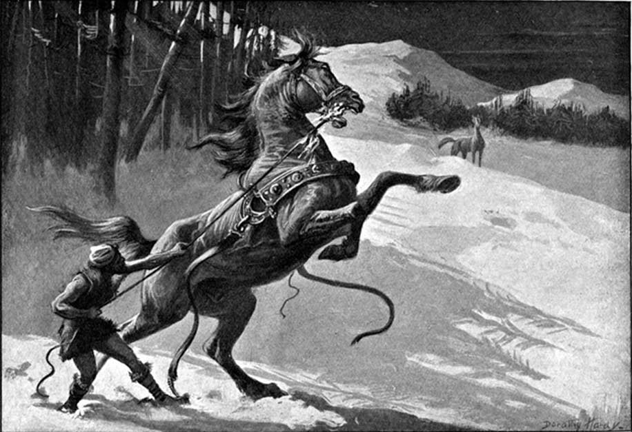 Loki y Svaðilfari (1909), ilustración de Dorothy Hardy (Public Domain)