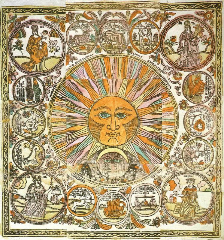 Desde su más tierna infancia, Nostradamus estudió astrología, astronomía y matemáticas. Zodíaco de Lubok con el Sol, la Luna, las cuatro estaciones y los doce signos del zodíaco. Finales del siglo XVII – principios del XVIII. (Public Domain)
