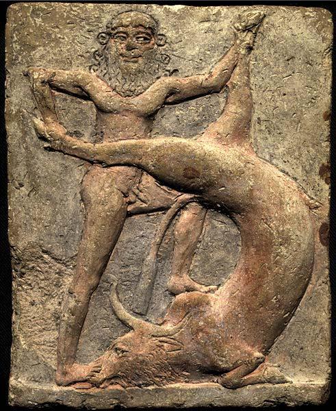 Gilgamesh, el rey héroe de la ciudad de Uruk, luchando contra el 'Toro celestial' (0045269/CC BY-SA 4.0))