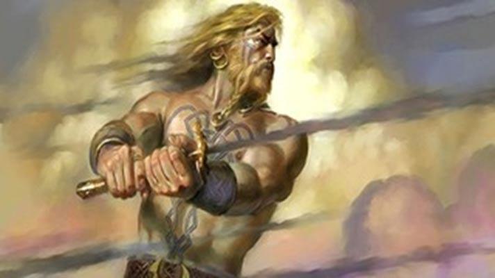 Lug blandiendo su espada en plena batalla. (Salem's Moon)