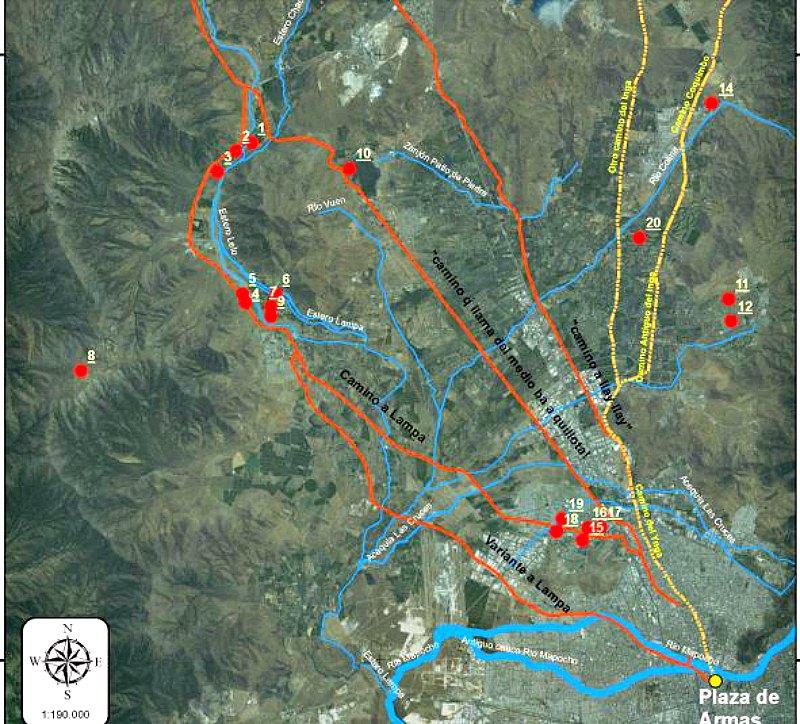 Lugares ocupados por los Incas antes de la llegada de los españoles en el sector Norte del Mapocho, hoy Santiago de Chile. (Imagen: MNHN-Stheberg-Stomayor-Cerda/La Gran Época)