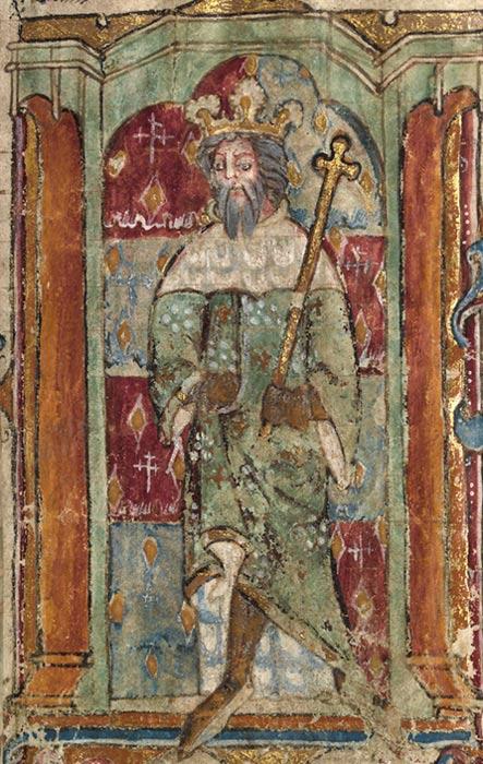 Ilustración medieval de un manuscrito galés del siglo XIV en la que supuestamente aparece retratado Magno Máximo. (CC0 1.0)