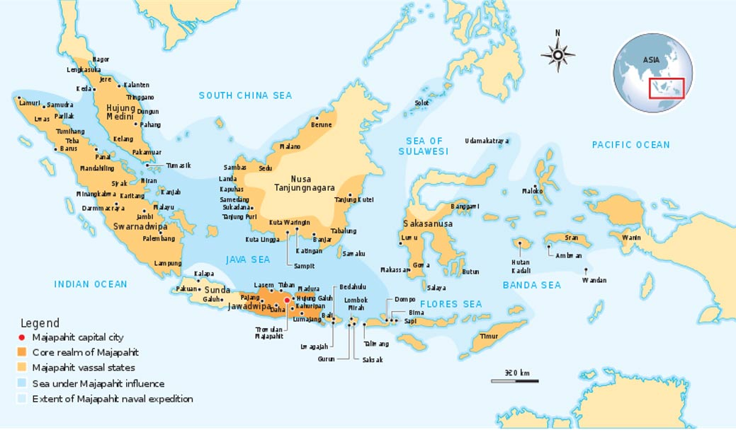 Mapa que muestra la extensión del Imperio Majapahit durante su apogeo en el siglo XIV. (Wikimedia Commons)