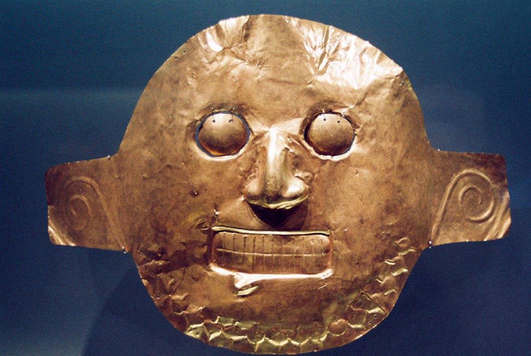 El pueblo Malagana fue uno de los cuatro que formaron parte de la cultura Calima. Máscara de oro Calima, Museo del Oro de Bogotá, Colombia. (CC BY 2.0)