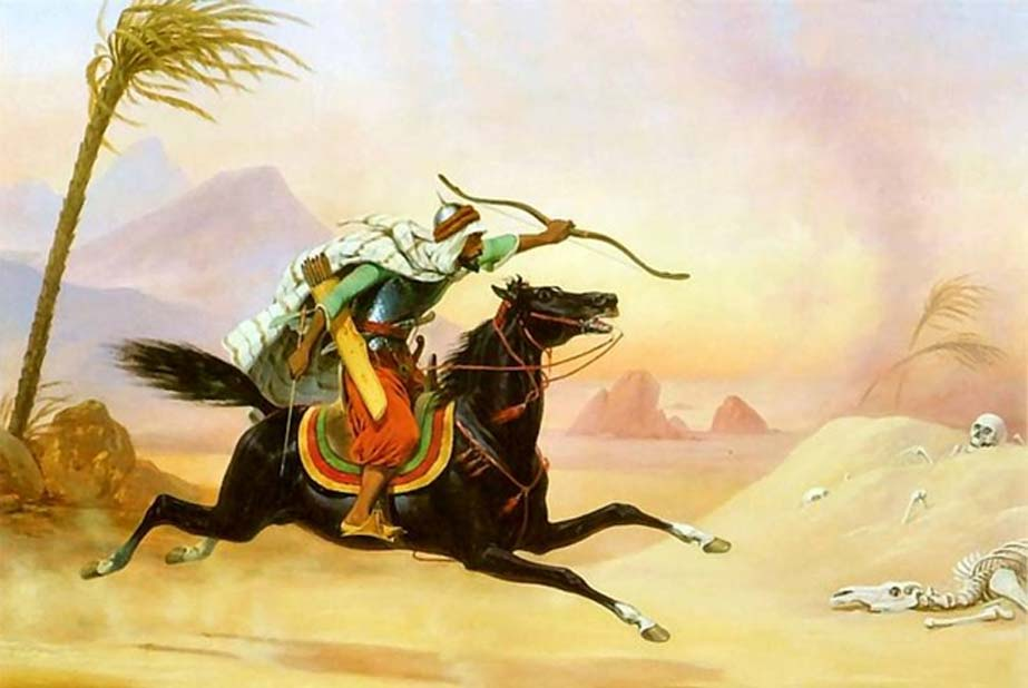 Mameluco practicando el tiro con arco a caballo. (Dominio público)