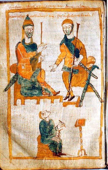 Carlomagno (izquierda) y su hijo mayor, Pipino el Jorobado. Copia del siglo X realizada a partir de un original perdido y datado en torno al año 830. (Public Domain)