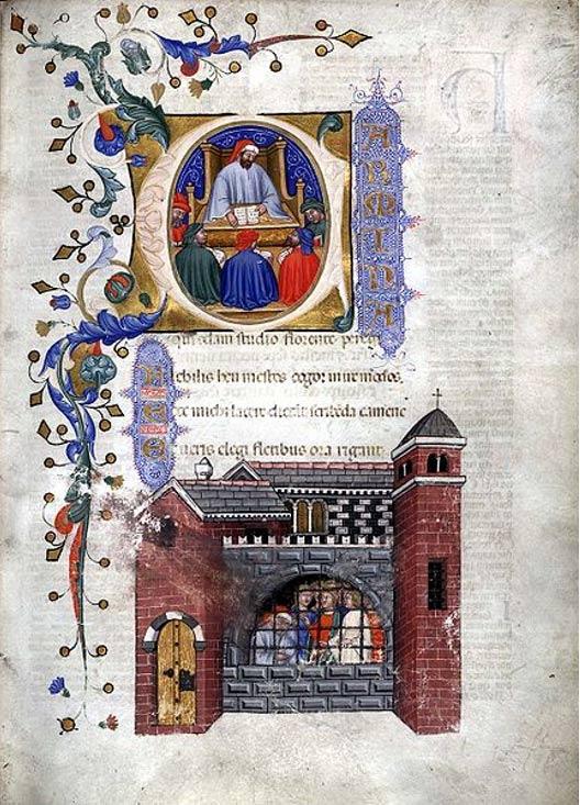 Página de un manuscrito italiano de 1385 de la obra de Boecio 'Consolación de la Filosofía': en las miniaturas aparece el autor enseñando a sus compañeros en prisión. (Public Domain)