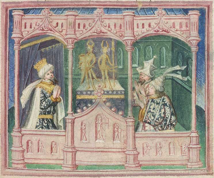 Extracto del folio 39 del manuscrito medieval Harley MS 2278. La escena representa a Lothbrok, rey de los daneses, y a sus hijos Hinguar y Hubba adorando ídolos paganos cornudos. (Dominio público)