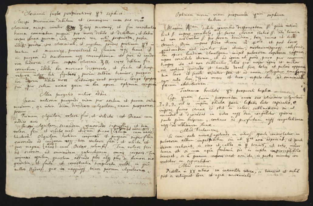 Manuscrito del siglo XVII con texto copiado de los escritos de un alquimista norteamericano, así como descripciones de uno de los experimentos del propio Newton. (Chemical Heritage Foundation)