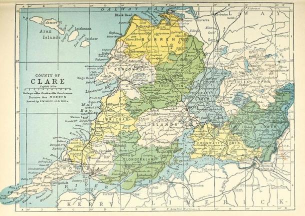 Mapa del Condado de Clare, en Irlanda (Wikimedia Commons)