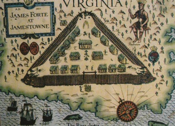 Mapa del Fuerte James en Jamestown (1677) (The Arthur/Google Fusion)
