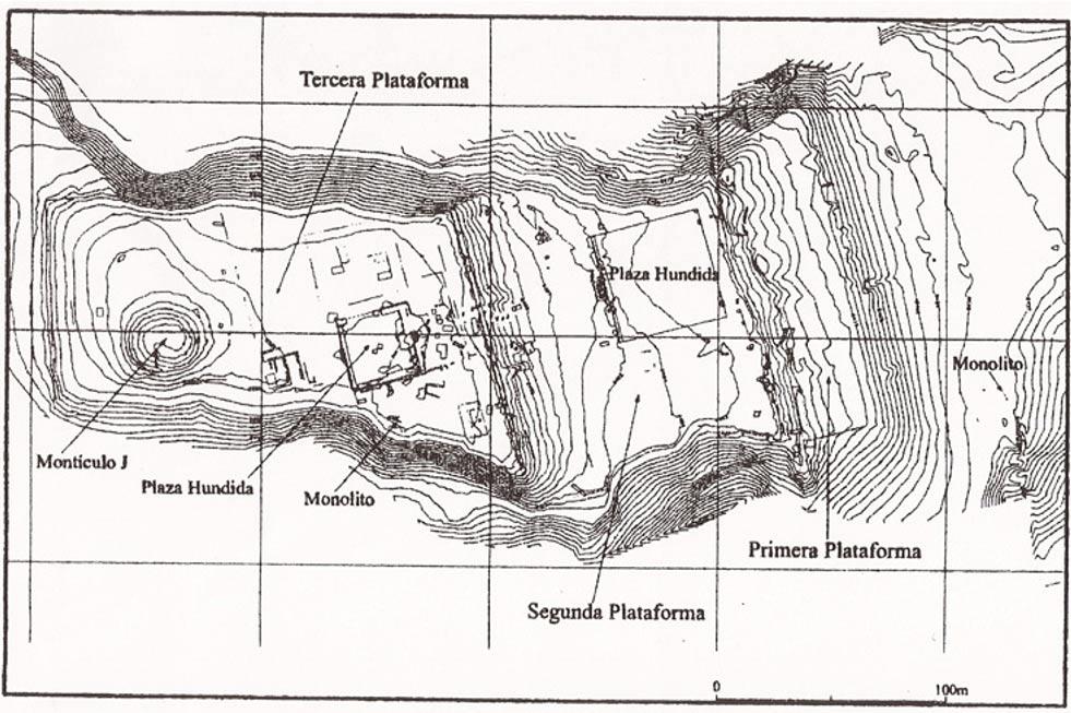 Mapa del yacimiento arqueológico de Pacopampa en la provincia de Chota, región de Cajamarca, Perú. (Proyecto Arqueológico Pacopampa)