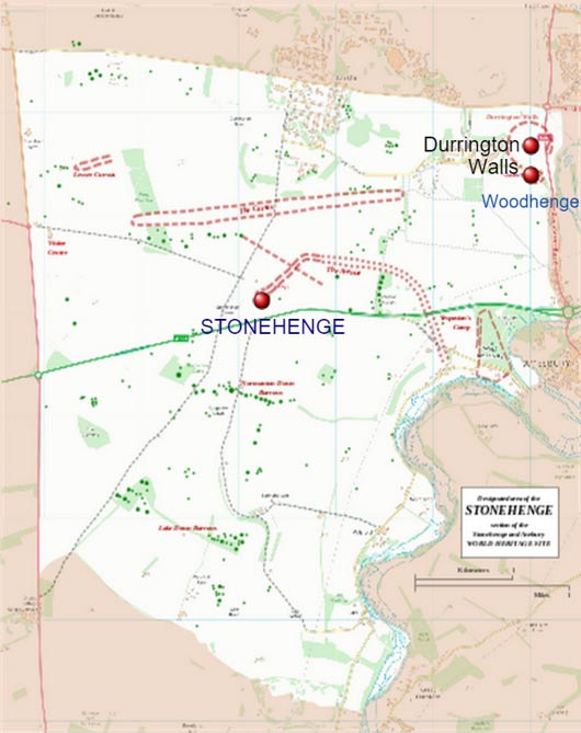 Mapa que muestra la situación de Durrington Walls y Stonehenge en Avebury, lugar declarado Patrimonio de la Humanidad. (Ordnance Survey data ©, Crown copyright y database right / CC BY 3.0)