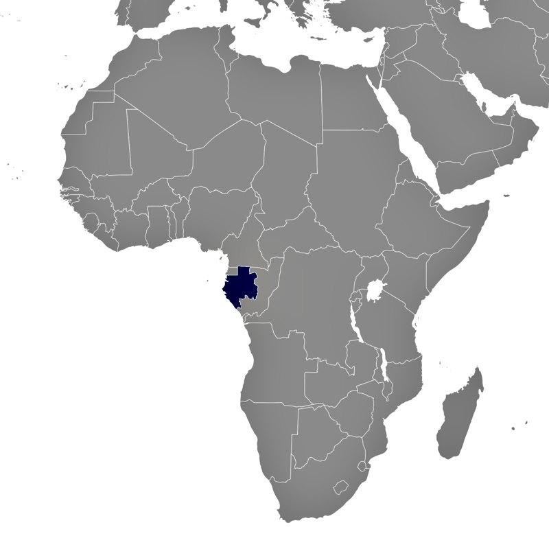 Situación geográfica de Gabón en el continente africano. (Public Domain)