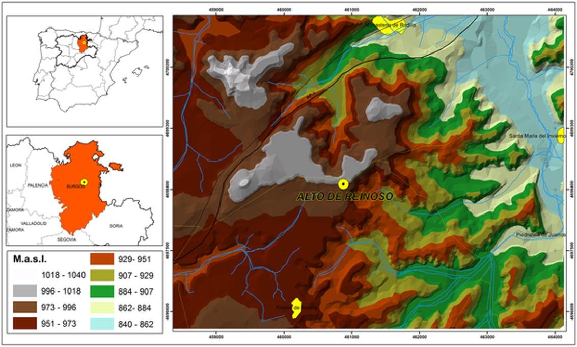 Mapa en el que se muestra la localización geográfica de la tumba megalítica del Alto del Reinoso, situada en la provincia de Burgos (Castilla y León, España) (Gráfico: Héctor Arcusa Magallón. Credit: Kurt W. Alt et al.)