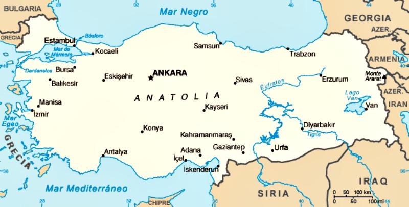 Mapa de la península de Anatolia, de la que según este estudio procedían los primeros agricultores europeos. (Public Domain)
