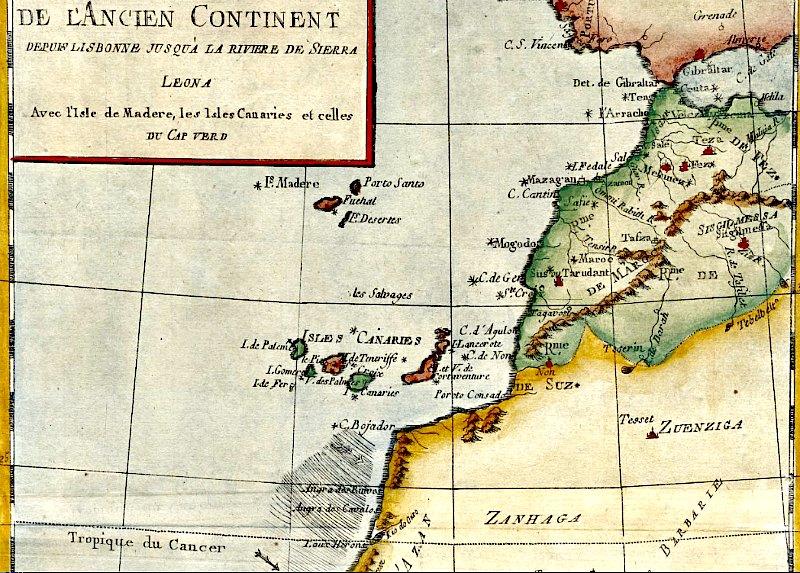 Detalle del mapa de 1783 obra de Rigoberto Bonne: mitad occidental del Viejo Mundo desde Lisboa hasta la costa de Sierra Leona, con las islas de Madeira, Canarias y Cabo Verde. (Public Domain)