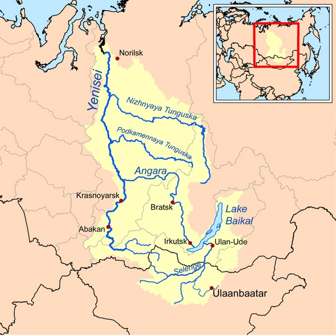Mapa de Wikipedia en el que se observan la bahía de Yenisey y la cuenca del río del mismo nombre en el Ártico Siberiano