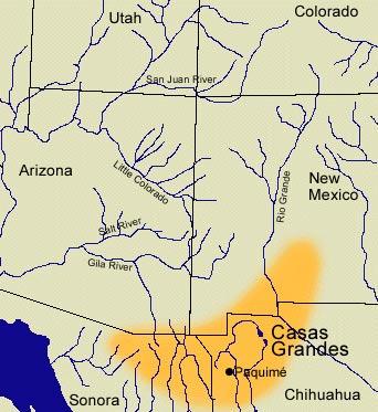 Mapa en el que podemos observar, en color naranja, la extensión de la cultura de Casas Grandes. (Beloit College map)