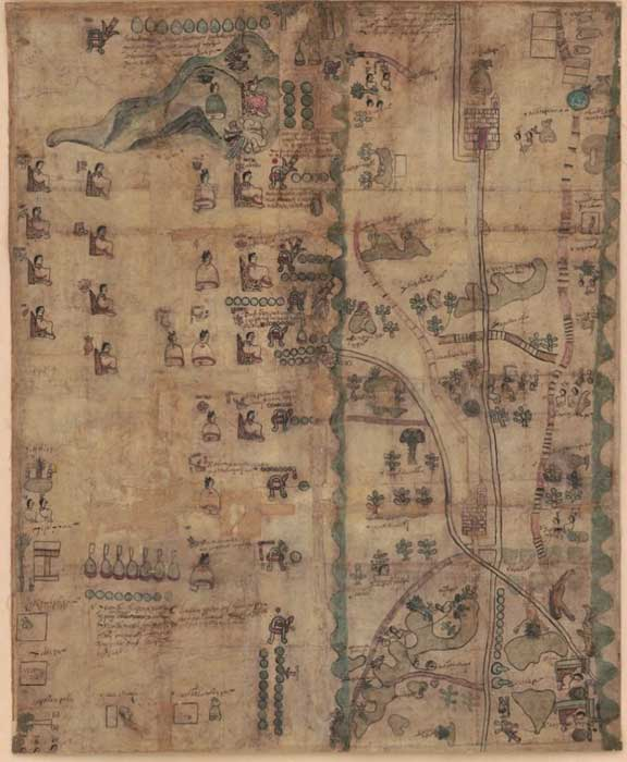 Mapa del Códice Quetzalecatzin o Mapa de Ecatepec-Huitziltepec. Obtenido de la Biblioteca del Congreso. (Dominio público)