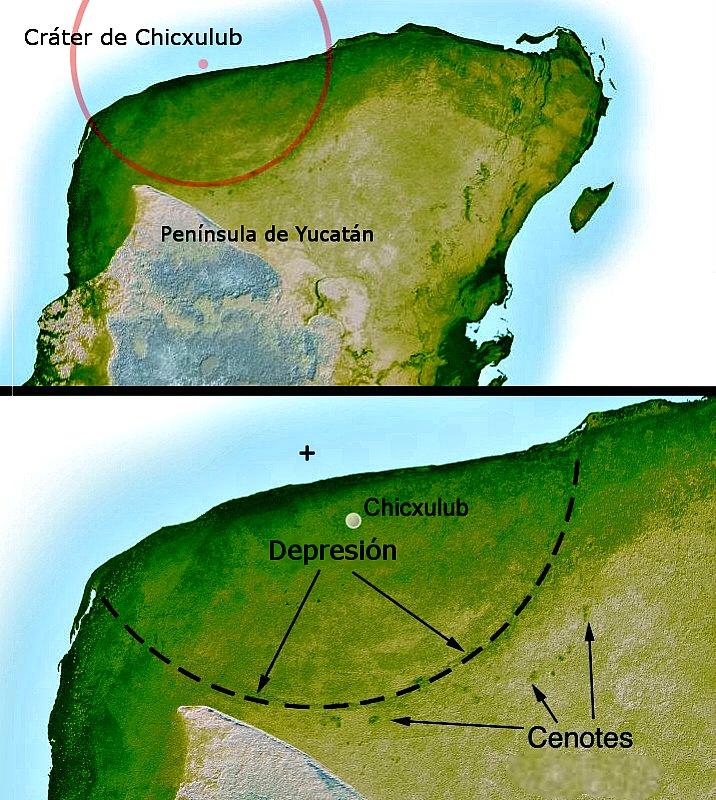 Imagen del relieve de la península de Yucatán, México, donde aparecen indicios, sutiles pero inequívocos del cráter de impacto de Chicxulub. La topografía de radar ha revelado que el anillo exterior del cráter tiene 180 kilómetros de diámetro. (Public Domain)