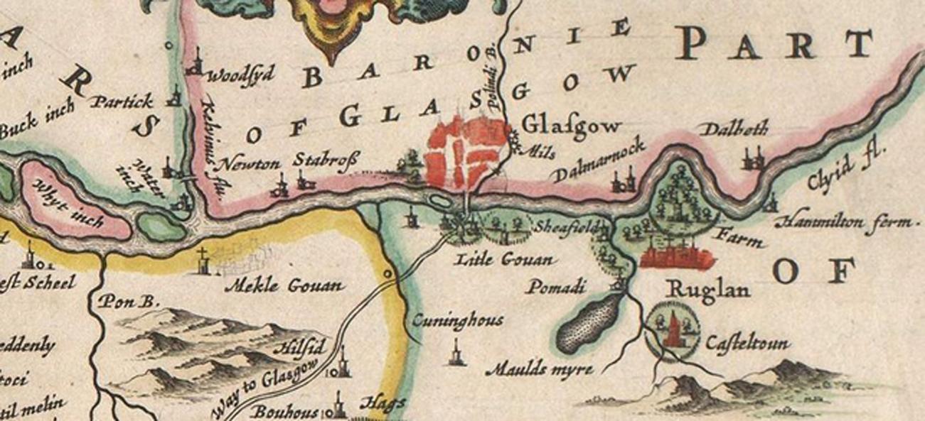 Glasgow y sus alrededores (del mapa de Escocia confeccionado en 1654 por Blaeu). (Public Domain) Partick se encuentra en la esquina superior izquierda del mapa.