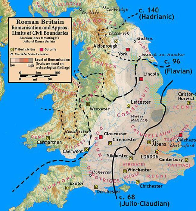 Grados relativos de romanización en Gran Bretaña basados en la arqueología. (Notuncurious/CC BY-SA 3.0)