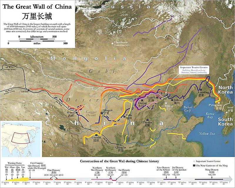 Mapa del trazado de la Gran Muralla (Maximilian Dörrbecker (Chumwa)/CC BY-SA 2.5)