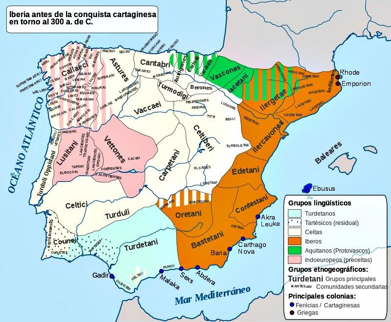 La península ibérica en torno al año 300 a. C. En color naranja los territorios de los pueblos íberos. (Alcides Pinto/CC BY-SA 4.0)