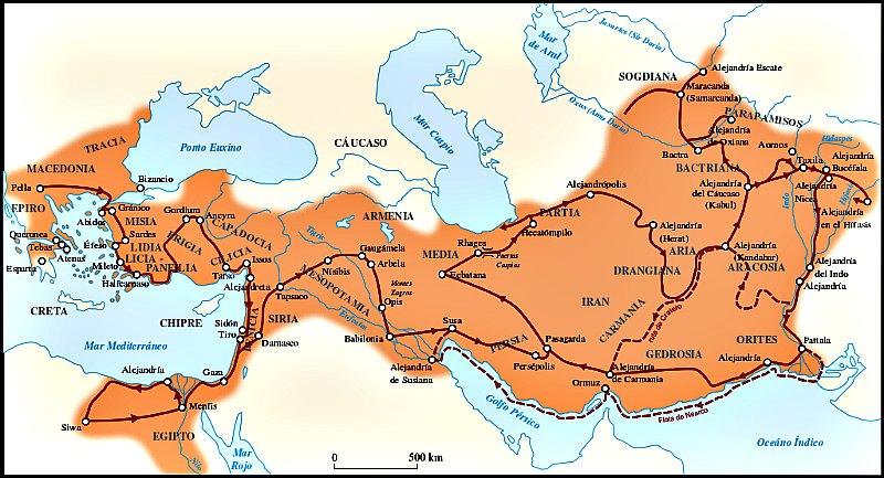 """Mapa en el que se señala la máxima extensión del imperio de Alejandro y la ruta seguida por éste a lo largo de sus conquistas, así como las """"Alejandrías"""": algunas de las ciudades fundadas por él. (Captain Blood/CC BY-SA 3.0)"""
