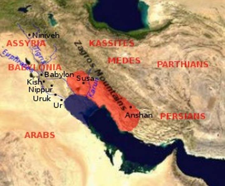 Mapa que muestra la extensión del Imperio Elamita (en lo que hoy es el sudoeste de Irán) en color rojo. Haft Tappeh, situada 15 kilómetros al sur de Susa, era una antigua ciudad que comerciaba con sus vecinos, especialmente con Babilonia. (CC BY-SA 3.0)